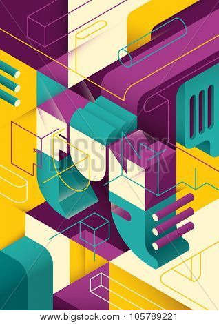 Conceptual isometric abstraction. Vector illustration.
