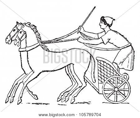 Chariot, vintage engraved illustration. Dictionary of words and things - Larive and Fleury - 1895.