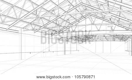 CAD construction model of a big warehouse (3D Rendering)