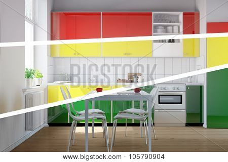 Color selection for new kitchen with three different colors (3D Rendering)