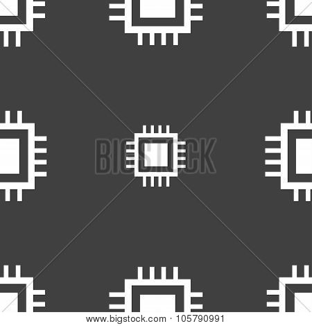 Central Processing Unit Icon. Technology Scheme Circle Symbol. Seamless Pattern On A Gray Background