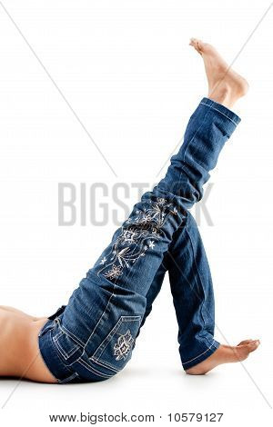 Indian girl's  legs in blue jeans
