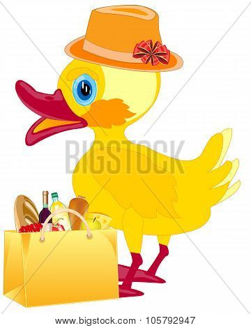 Fashionable duckling with product