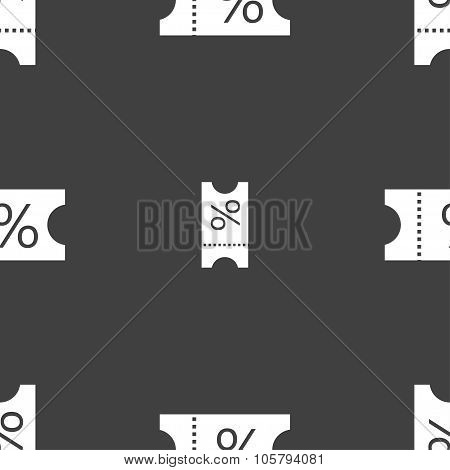 Ticket Discount Icon Sign. Seamless Pattern On A Gray Background. Vector