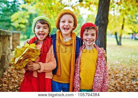 Ecstatic children having good time in park