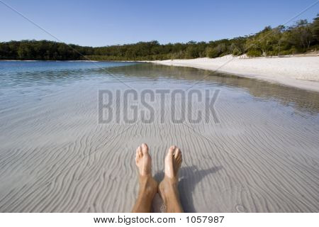 Mans Feet In Lake