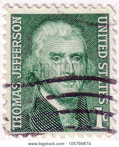 Usa-circa 1968:a Stamp Printed In Usa Shows Image Of Thomas Jefferson Was The Third President Of The
