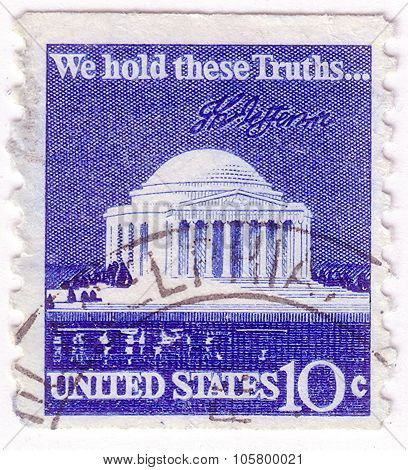 Usa - Circa 1973: A Stamp Printed In Usa Shows Thomas Jefferson Memorial And Signature, Circa 1973