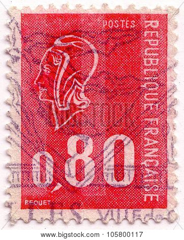 France - Circa 1970: Stamp Printed In France Shows Woman's Head In Profile Circa 1970