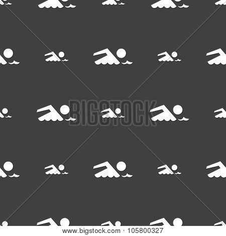 Swimming Sign Icon. Pool Swim Symbol. Sea Wave. Seamless Pattern On A Gray Background. Vector
