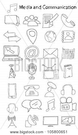 Hand drawn media and communication icon set.
