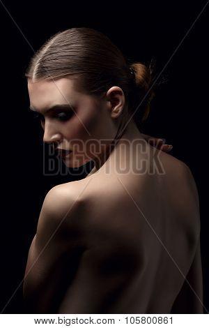 Portrait of beauty model posing back to camera