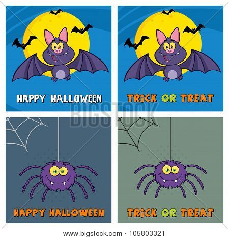 Four Halloween Greeting Cards