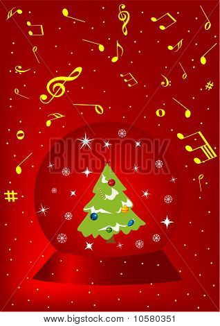 Red Christmas background with ball and snowflake