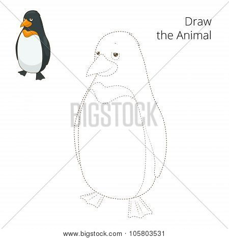 Learn to draw animal penguin vector illustration