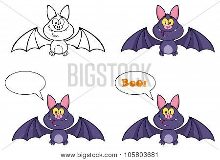 Vampire Bat Character Flying. Collection Set