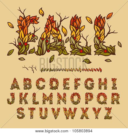 Hand drawn fall alphabet made with leaves