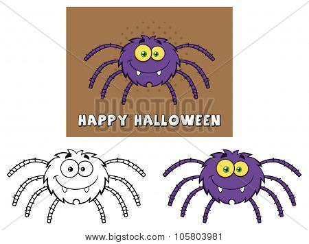 Spider Cartoon Character. Collection Set
