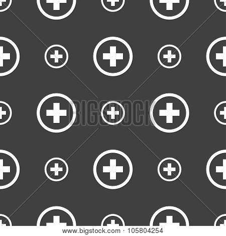 Plus, Positive, Zoom Icon Sign. Seamless Pattern On A Gray Background. Vector