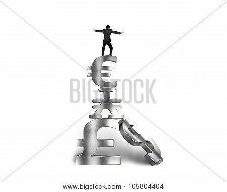 Businessman Balancing On Stack Money Symbols