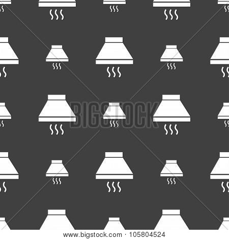 Kitchen Hood Icon Sign. Seamless Pattern On A Gray Background. Vector
