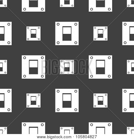 Power Switch Icon Sign. Seamless Pattern On A Gray Background. Vector
