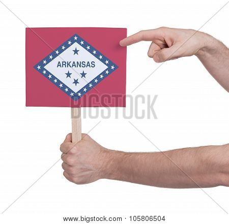 Hand Holding Small Card - Flag Of Arkansas