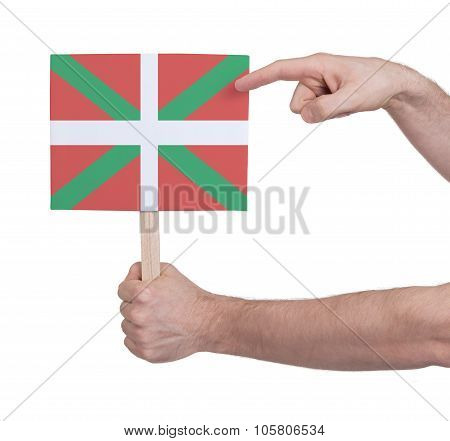 Hand Holding Small Card - Flag Of Basque Country