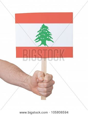 Hand Holding Small Card - Flag Of Lebanon