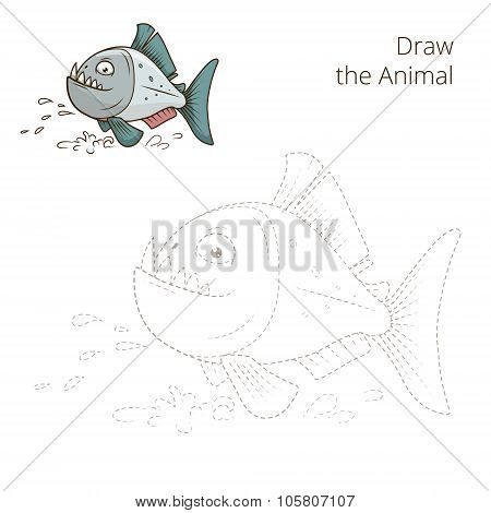 Draw the animal piranha educational game vector