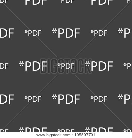 Pdf File Document Icon. Download Pdf Button. Pdf File Extension Symbol. Seamless Pattern On A Gray B