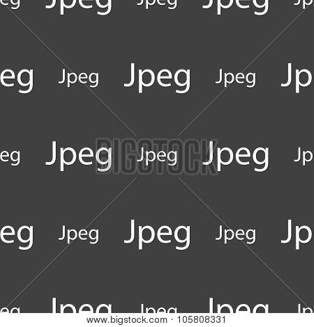 File Jpg Sign Icon. Download Image File Symbol. Seamless Pattern On A Gray Background. Vector