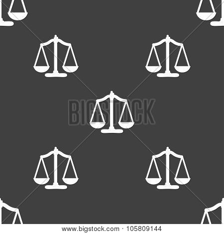 Scales Balance. Seamless Pattern On A Gray Background. Vector