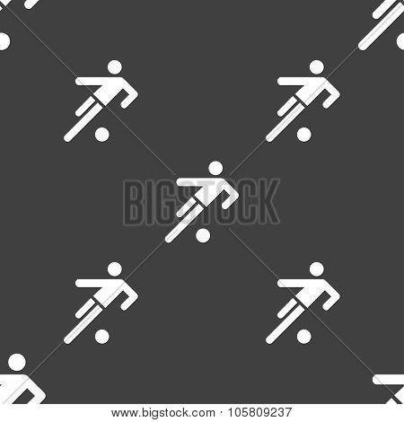 Football Player Icon. Seamless Pattern On A Gray Background. Vector