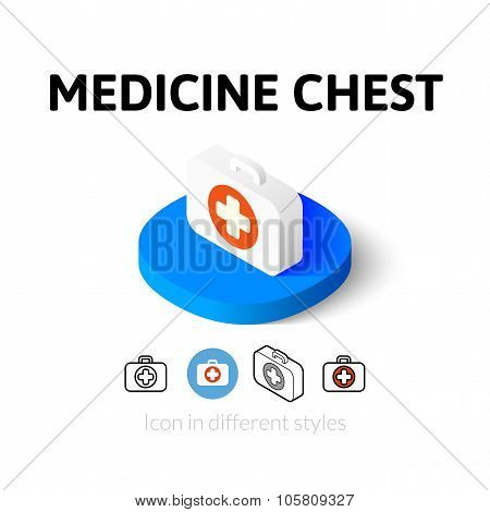 Medicine chest icon in different style