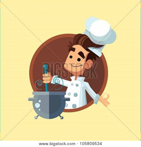 Round Flat Vector Icon With Cook And Kitchenware