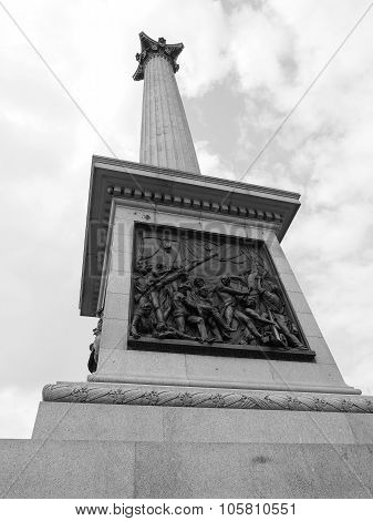 Black And White Nelson Column In London