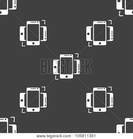 Synchronization Sign Icon. Smartphones Sync Symbol. Data Exchange. Seamless Pattern On A Gray Backgr