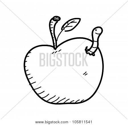 Apple Worm Doodle