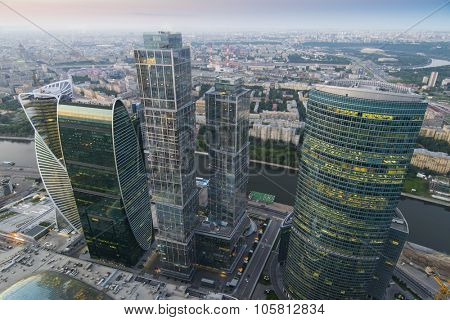 MOSCOW, RUSSIA - JUL 2, 2015: Skyscrapers of Moscow City business complex and river. Moscow International Business Center Moscow City includes 20 futuristic buildings