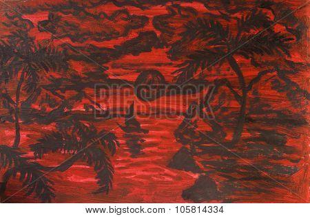 Tropical Landscape On Crimson, Painting