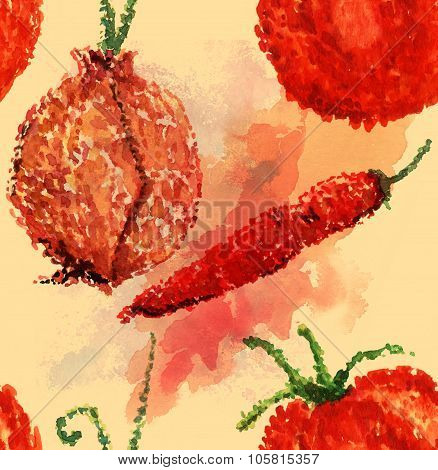 Watercolor seamless background pattern with a tomato, an onion and a red hot chili pepper