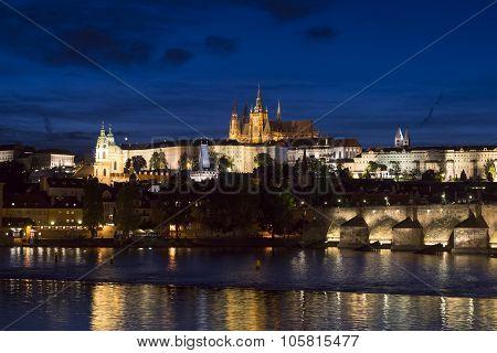 Pargue At Dusk, View Of The Charles Bridge And Prague Castle