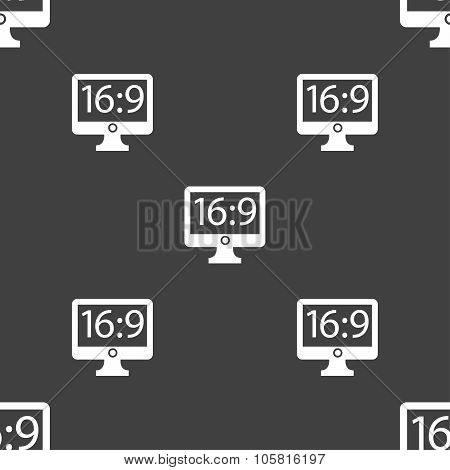 Aspect Ratio 16 9 Widescreen Tv Icon Sign. Seamless Pattern On A Gray Background. Vector