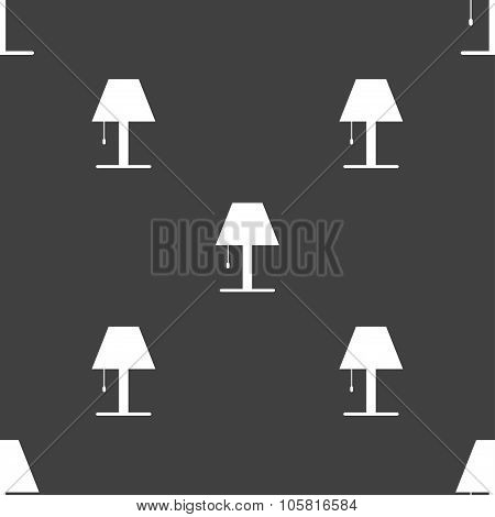 Lamp Icon Sign. Seamless Pattern On A Gray Background. Vector