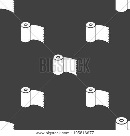 Toilet Paper, Wc Roll Icon Sign. Seamless Pattern On A Gray Background. Vector
