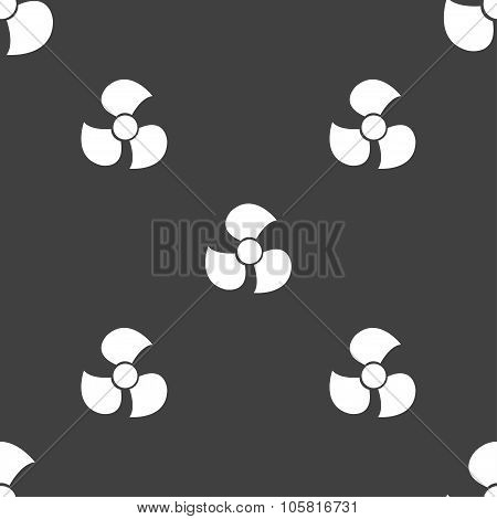 Fans, Propeller Icon Sign. Seamless Pattern On A Gray Background. Vector