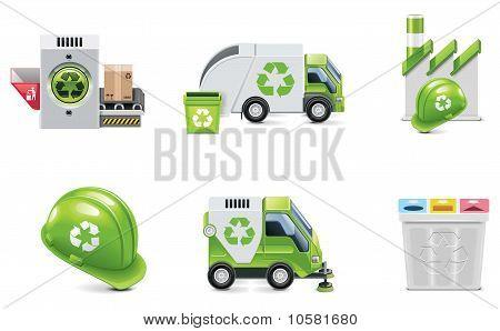 Lixo de vetor reciclagem ícone definido