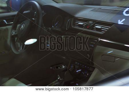Interior Of New Skoda Superb In Black Color