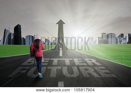 Teenage Student Go Ahead On The Road